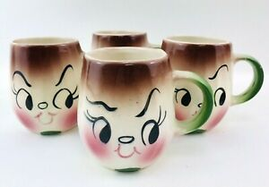 Deforest Of California Onion Anthropomorphic Mug Set of 4 Vintage Hand Painted