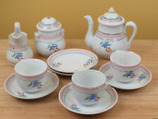 Antique Porcelain Child's Tea Set Pot Bowl Cup Saucer Plate Doll  R
