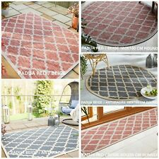 FLORENCE PADUA FLATWEAVE ANTHRACITE & RED OUTDOOR & INDOOR RUG RUNNER ROUND MAT