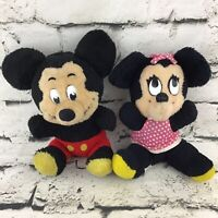 Vintage 60's Disney Plush Lot Of 2 Mickey And Minnie Mouse Classic Collectors