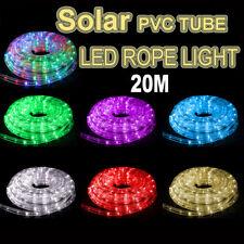 Solar 20M LED Rope Lights PVC Hard Tube Party Christmas Light Wedding LED Xmas