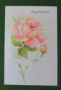 1970s Greeting Card Congratulations pretty pink Rose UNUSED