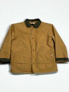 LL Bean Canvas Field Barn Chore Work Coat Lined Jacket Kids Boys Sz Large 14/16