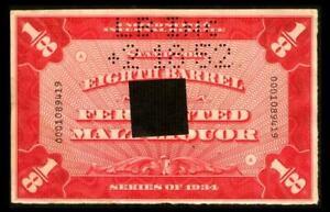 REA181a REVENUE Beer Stamp 1/8 BBL Violet Red SERIES 1934 SEE PHOTOS Lot BK-256