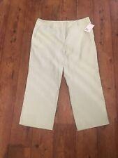 BNWT Liz Claiborne Size 16 Villager Trousers Pants Green Stripe Wide Leg