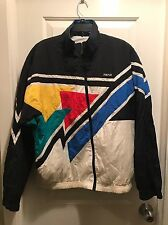 HEAD vintage tennis jacket men's L windbreaker multi-color 100% nylon shell