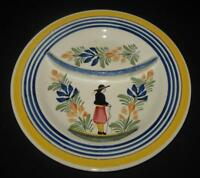 Henriot Quimper, France, Man in Center, Divided Dinner Plate, 9 1/2""