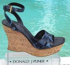 Donald Pliner Couture Hand Carved Cork Pitone Leather Wedge Shoe New 11 $250 NIB