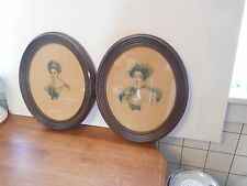 Vintage Pair of Oval Framed Prints w/ Photos of Victorian Looking Women Signed