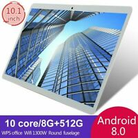"10.1"" inch WIFI/4G-LTE HD 8+512GB Tablet Android 8.0 Pad 10 Core GPS Dual Camera"