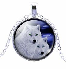 Vintage Cabochon Tibetan silver Glass Chain Pendant Necklace artic  wolf