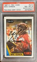 1987 1988 OPC Mike Vernon AUTO PSA 8 DNA RC ROOKIE #215 AUTOGRAPH NM-MT Flames