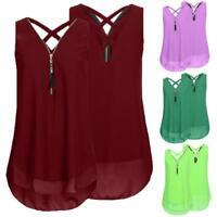 Women Sleeveless Loose Tank Top Cross Back Hem Layed Zipper V-Neck T Shirts Tops