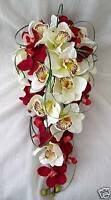 BRIDES TEARDROP BOUQUET, RED AND CREAM ORCHIDS, ARTIFICIAL WEDDING FLOWERS