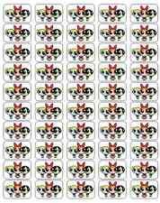"50 Powerpuff Girls Envelope Seals / Labels / Stickers, 1"" by 1.5"""