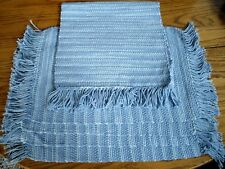 Blue & White Striped Woven Placemats & Runner ~ Set of 5  ~