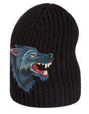 NEW GUCCI LUXURY CURRENT BLACK KNIT 100% WOOL WOLF APPLIQUE BEANIE HAT 58/M