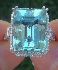 25ct Bridal Emerald Cut Aquamarine Wedding Cocktail Ring In 925 Sterling Silver