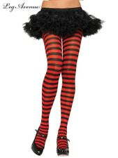 leg avenue costume tights stockings Black & Red Striped PLUS size 3X 4X 7100Q
