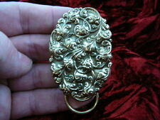 (E-428) textured floral scrolled Eyeglass pin pendant ID badge holder brooch