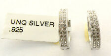 STERLING SILVER PAVE' HUGGIE EARRINGS NEW WITH TAGS