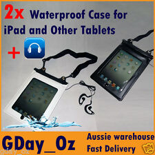 2x Outdoor Waterproof Dry Bag w Headhones Connector. For iPad, Galaxy or Tablet