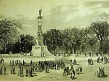 Boston Common Massachusetts MONUMENT to HEROES 1877 Antique Art Print Matted