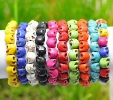 Sugar Skull Bracelet Elastic Wristband 10pcs Fashion Charms Punk Rock Turquoise
