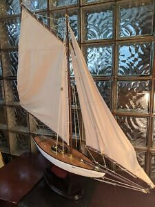 "36"" Gorgeous Vintage Hollow Wood Pond Yacht RMYC 1923 model display sailboat."