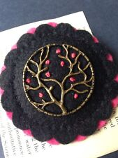 Tree of Life Hand-stitched Felt Brooch. Pink and black- unique Gift Idea.