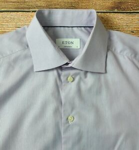 Eton Contemporary Mens Slim Fit Long Sleeve Dress Shirt 16-37 Striped