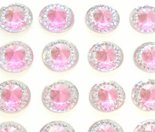 40 SELF ADHESIVE ROUND SHAPED PINK RESIN DIAMANTE RHINESTONES GEMS 12 MM