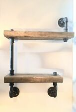 Industrial Rustic Urban Two Tier Pipe Shelf  (Pick your own stain)(2x6)