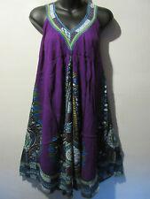 Dress Fit M L XL 1X Sundress Purple Tribal Mini Dress V Neck Beach Cover NWT 661