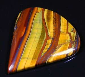 92 CT 100% HUGE NATURAL GOLD FIRE RED IRON TIGER PEAR CABOCHON GEMSTONE B496
