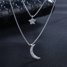 Moon Star Pendant Chain Necklace 925 Sterling Silver Womens Girls Jewellery Gift