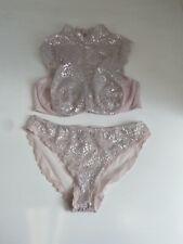 BNWT Victoria's Secret Dream Angels High Neck Pink & Silver Lace Bralette 36D/L