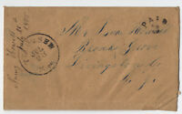 1855 Tecumseh Michigan stampless cover paid 3 in arc ASCC unlisted CDS [2463.53]