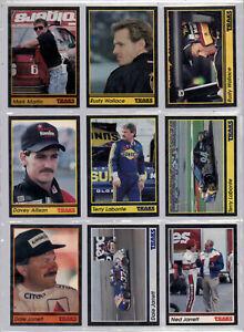 NASCAR 1991 Traks,9 cards,VF-NM cond--Rusty Wallace,Davey Allison,Terry Labonte