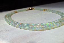 3-reihige äthiopien crystal opal kette, 585 gold filled vergoldet, 46cm +
