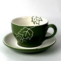 Starbucks Green Leaf Mug Saucer Set 2007 Tea Cup Coffee Capuccino