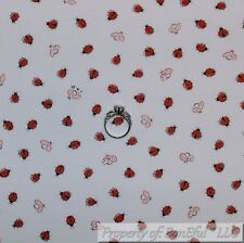 BonEful Fabric Cotton Quilt White Red Lady*Bug Small Little B&W Tiny Baby SCRAP