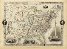 Old Vintage Map of United States of America richly illustrated Tallis 1851