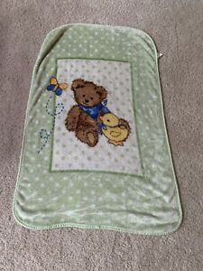 Sleepy Bear Bunny duck Baby Quilt Blanket green blue yellow neutral 32x47