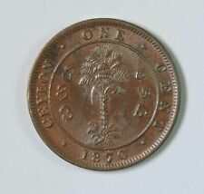 1870 Ceylon Queen Victoria One 1 Cent Coin BU Brilliant Uncirculated