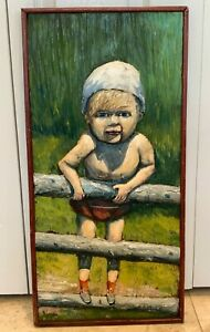 CIRCA 1969 Carved Wood and Painted Panel Artwork of a Child Signed by Artist