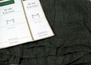 "Croscill Classics Hunter Green Chenille Crushed Window Scarf Valance 44"" X 216"""