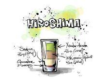 Impresión arte cartel Pintura Dibujo alcohol cóctel receta Hiroshima lfmp0933