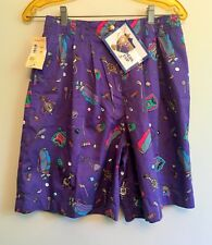 "Wms Vntg Line Up GOLF SHORTS Sz LG Golf Print on Purple NWT 26-36"" Waist Pleated"