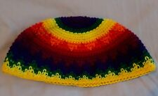 "Medium Big Cotton Crochet ""Frik""/""Freak"" Kippah/Yarmulke/Cap Rainbow 24.5 cm"